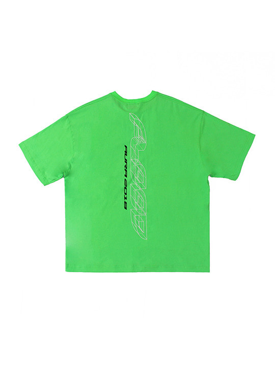 FLOOD AURA 2018 LASER LOGO T-SHIRTS / NEON GREEN