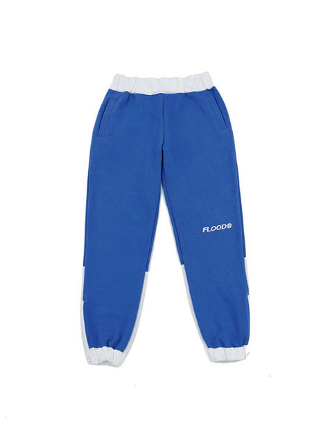 FLOOD LOGO SIDE ZIPPER SWEAT PANTS / BLUE